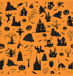 halloween holiday orange seamless pattern flat vector image