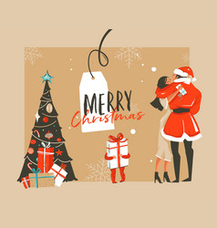 Hand drawn abstract fun merry christmas vector
