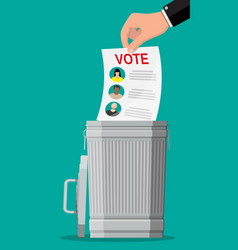Hand puts election bill in trash vector