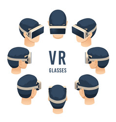 head in vr glasses isometric virtual reality vector image