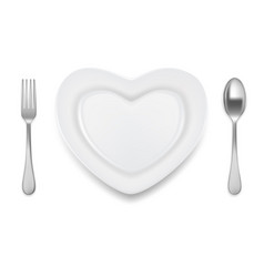 heart shaped plate spoon fork vector image