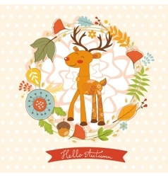 Hello autumn concept card with cute deer vector