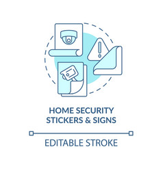 Home security stickers and signs blue concept icon vector
