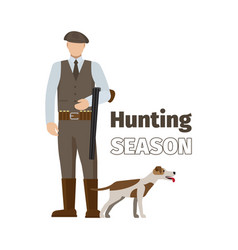 hunter and his dog vector image