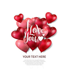 I love you design with heart balloon on white vector