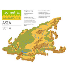 isometric 3d asia physical map constructor vector image