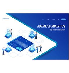 isometric big data network visualization advanced vector image