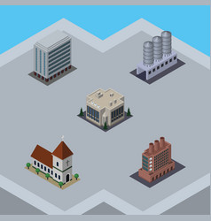 Isometric construction set of office water vector