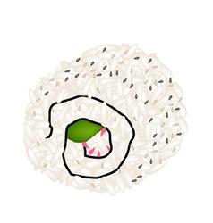 Japanese Sesame California Roll on White vector