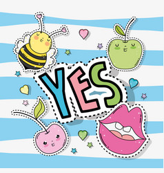 Kawaii bee with apples and mouth sticker vector