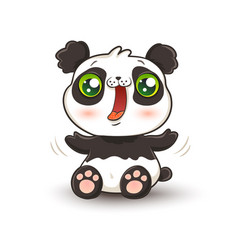 kawaii panda vector image