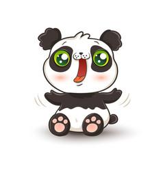 kawaii panda vector image