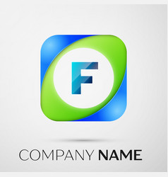 Letter f logo symbol in the colorful square vector
