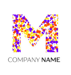 letter m logo with purple yellow red particles vector image vector image