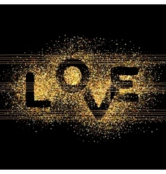 LOVE gold letters Elegant background vector image