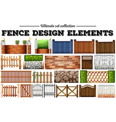 Many fence design elements vector
