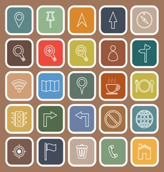 Map line flat icons on brown background vector image