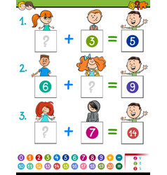 Maths addition educational game with children vector