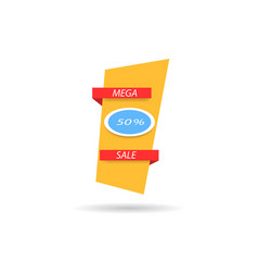 Mega sale banner with discount on white vector