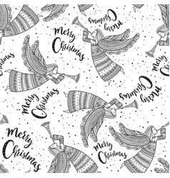 merry christmas seamless pattern with angel vector image