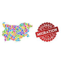 Migration collage of mosaic map of bulgaria and vector