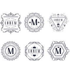 Monogram logo templates set luxury business sign vector