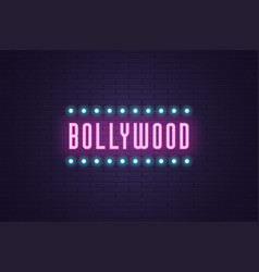 Neon composition headline bollywood neon text vector