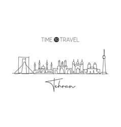 One single line drawing tehran or teheran city vector