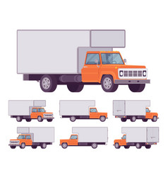 orange truck set vector image