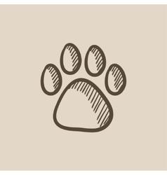 Paw print sketch icon vector image