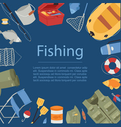 professional fishing equipment background with vector image