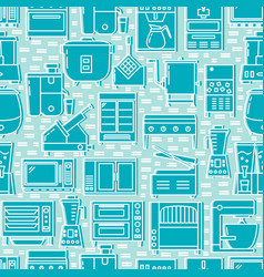 restaurant equipment seamless pattern in line vector image
