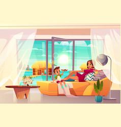 Resting in luxury hotel apartment cartoon vector