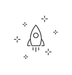 rocket launch linear icon on white background vector image