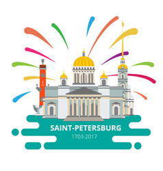 saint-petersburg flat cityscape to day the vector image