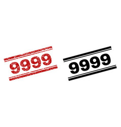 scratched textured and clean 9999 stamp prints vector image