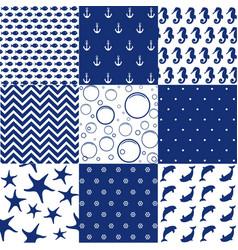 sea seamless patterns nautical design marine ele vector image