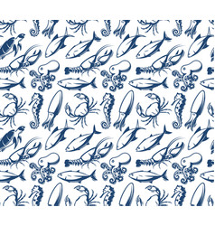 Seafood pattern sea creatures fish vector