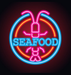 seafood restaurant neon sign plank vector image