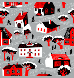 seamless pattern with houses cute town vector image vector image