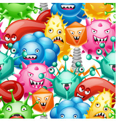 seamless pattern with little angry viruses vector image