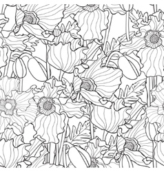 seamless pattern with poppies vector image