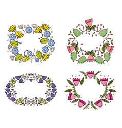 set flowers garden plants decorative frames vector image