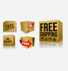 set of cardboard box of free shipping or free deli vector image