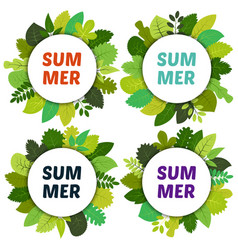 set of four labels with green summer leaves vector image