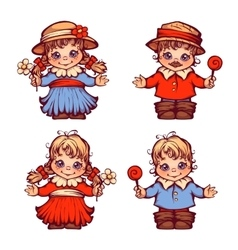 set of sweet children for Festa Junina vector image