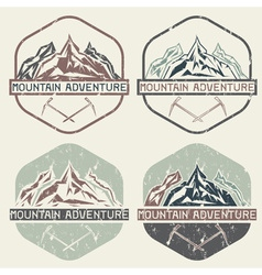 set of vintage grunge labels mountain adventure vector image