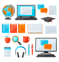 set online studying at home items distance vector image