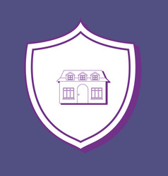 Shield and house design vector