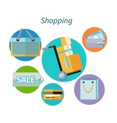 Shopping Concept Flat Design Style vector image